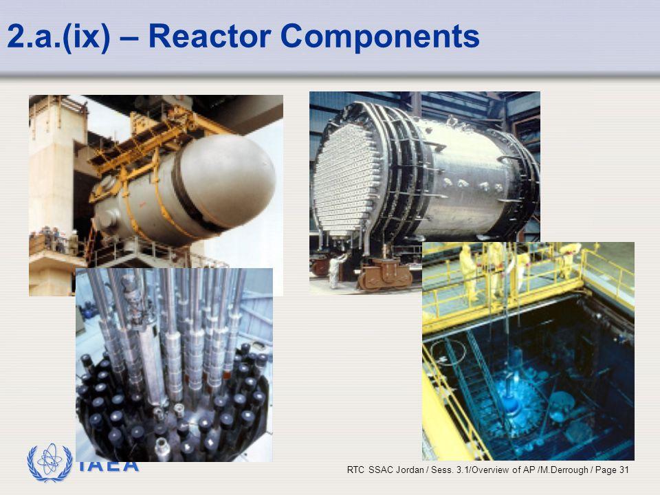 IAEA RTC SSAC Jordan / Sess. 3.1/Overview of AP /M.Derrough / Page 31 2.a.(ix) – Reactor Components