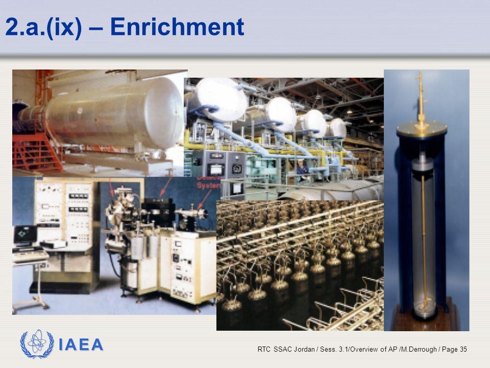 IAEA RTC SSAC Jordan / Sess. 3.1/Overview of AP /M.Derrough / Page 35 2.a.(ix) – Enrichment
