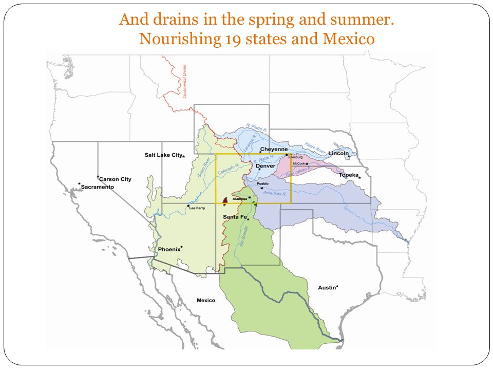 And drains in the spring and summer. Nourishing 19 states and Mexico
