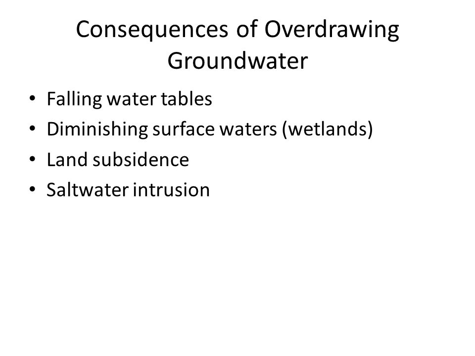 Consequences of Overdrawing Groundwater Falling water tables Diminishing surface waters (wetlands) Land subsidence Saltwater intrusion