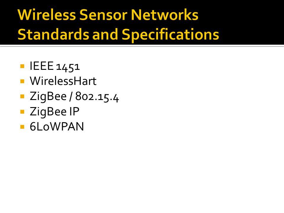  IEEE 1451  WirelessHart  ZigBee / 802.15.4  ZigBee IP  6LoWPAN