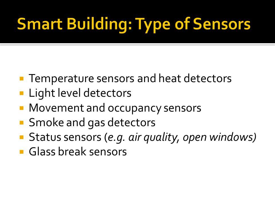  Temperature sensors and heat detectors  Light level detectors  Movement and occupancy sensors  Smoke and gas detectors  Status sensors (e.g.