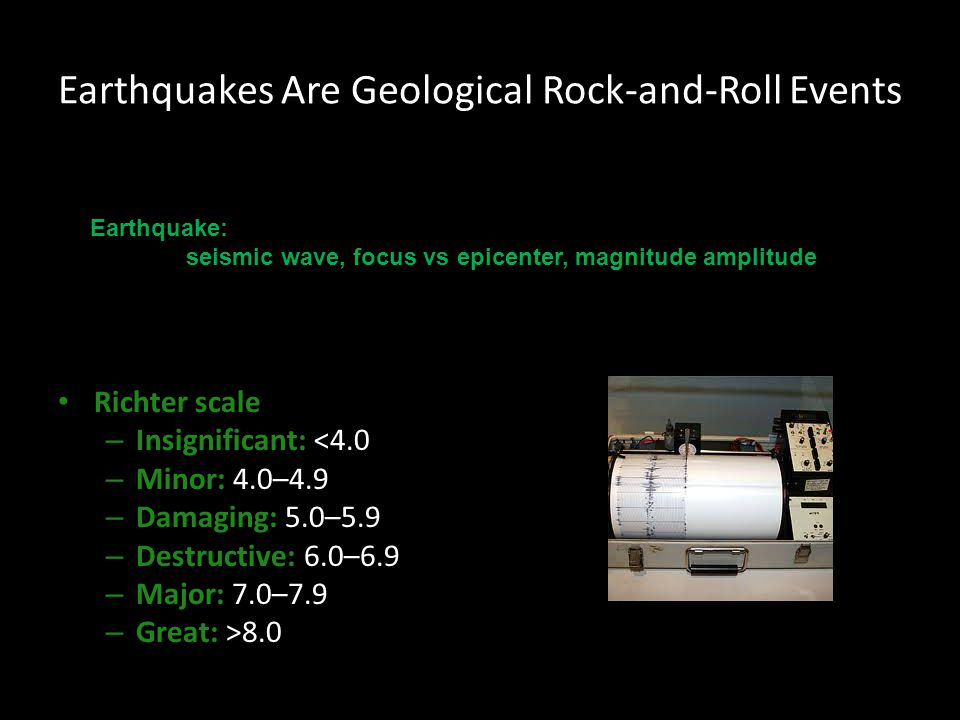Earthquakes Are Geological Rock-and-Roll Events Richter scale – Insignificant: <4.0 – Minor: 4.0–4.9 – Damaging: 5.0–5.9 – Destructive: 6.0–6.9 – Majo