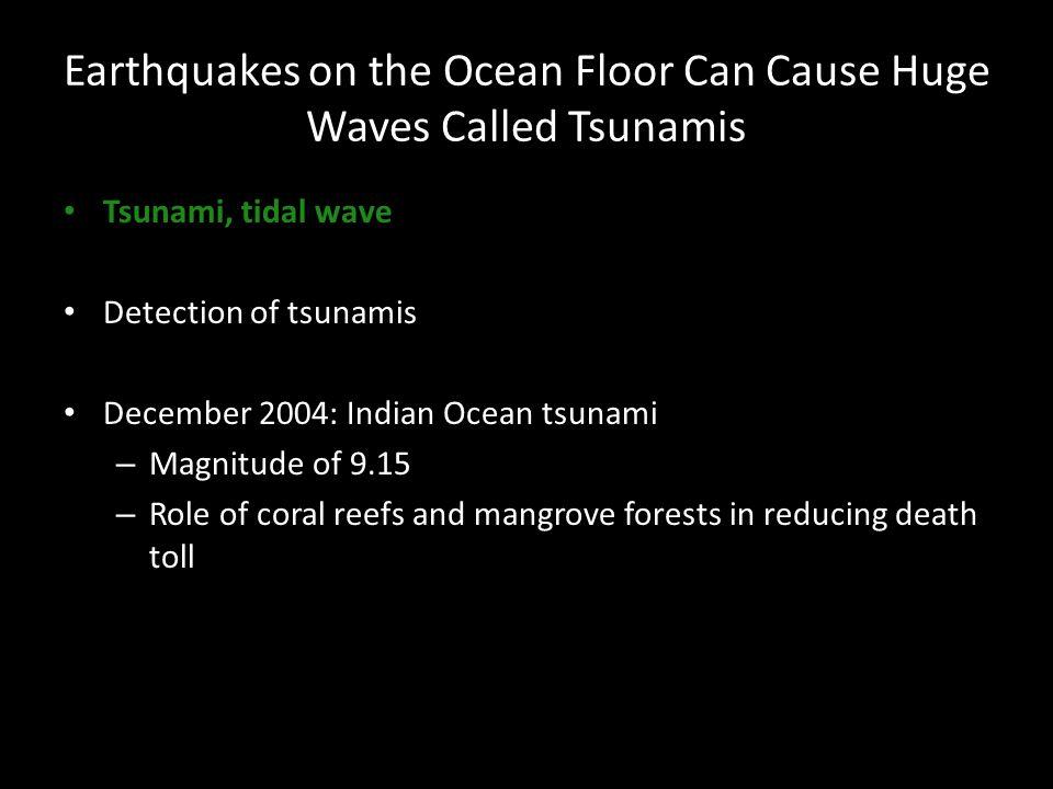 Earthquakes on the Ocean Floor Can Cause Huge Waves Called Tsunamis Tsunami, tidal wave Detection of tsunamis December 2004: Indian Ocean tsunami – Ma