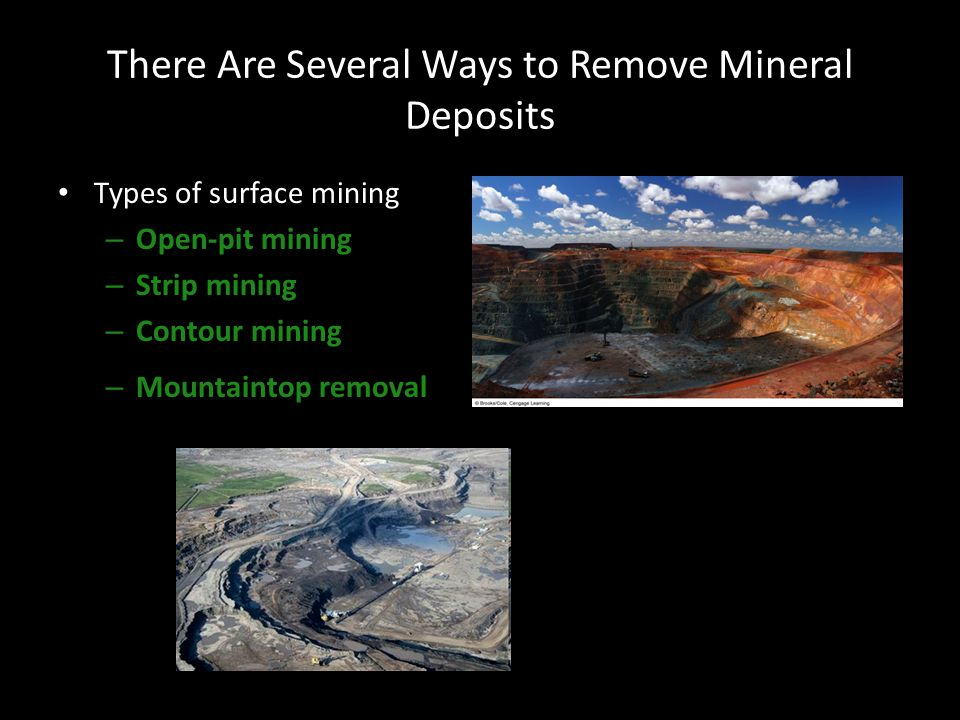 There Are Several Ways to Remove Mineral Deposits Types of surface mining – Open-pit mining – Strip mining – Contour mining – Mountaintop removal