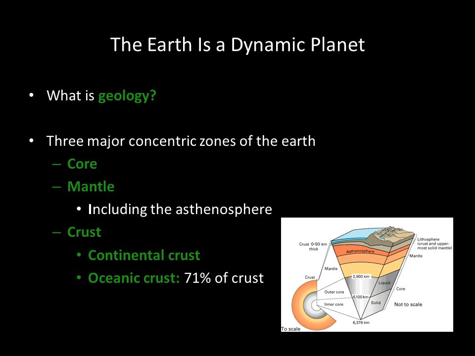 The Earth Is a Dynamic Planet What is geology? Three major concentric zones of the earth – Core – Mantle Including the asthenosphere – Crust Continent