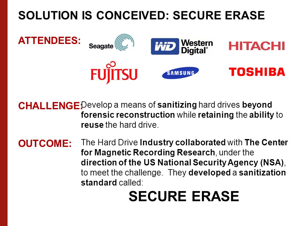 ATTENDEES: CHALLENGE: Develop a means of sanitizing hard drives beyond forensic reconstruction while retaining the ability to reuse the hard drive.