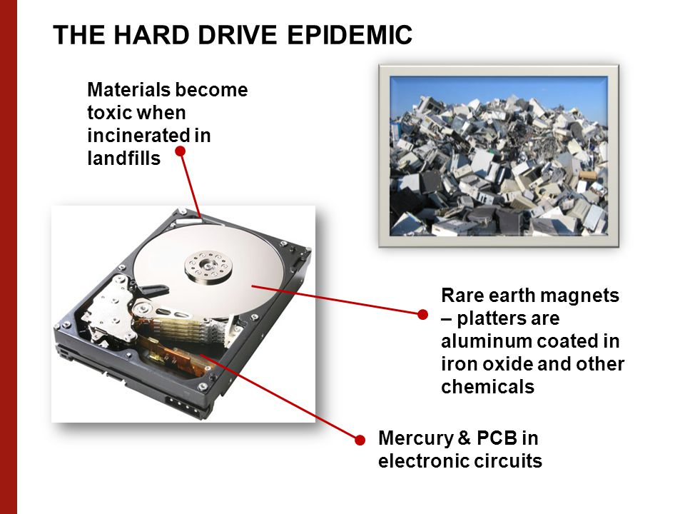 THE HARD DRIVE EPIDEMIC Mercury & PCB in electronic circuits Rare earth magnets – platters are aluminum coated in iron oxide and other chemicals Materials become toxic when incinerated in landfills