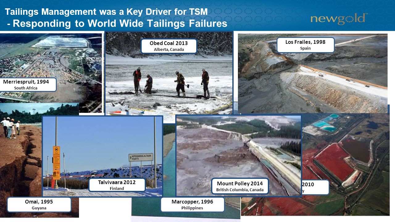Tailings Management was a Key Driver for TSM - Responding to World Wide Tailings Failures Merriespruit, 1994 South Africa Omai, 1995 Guyana Marcopper, 1996 Philippines Kolontar, 2010 Hungary 5 Mount Polley 2014 British Columbia, Canada Talvivaara 2012 Finland Obed Coal 2013 Alberta, Canada Los Frailes, 1998 Spain