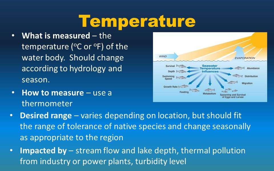 Temperature What is measured – the temperature ( o C or o F) of the water body. Should change according to hydrology and season. How to measure – use