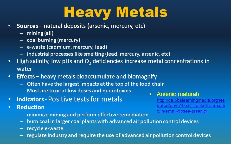 Heavy Metals Sources - natural deposits (arsenic, mercury, etc) – mining (all) – coal burning (mercury) – e-waste (cadmium, mercury, lead) – industria