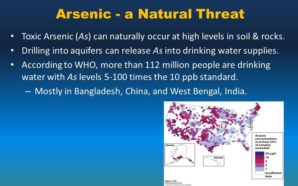 Arsenic - a Natural Threat Toxic Arsenic (As) can naturally occur at high levels in soil & rocks. Drilling into aquifers can release As into drinking