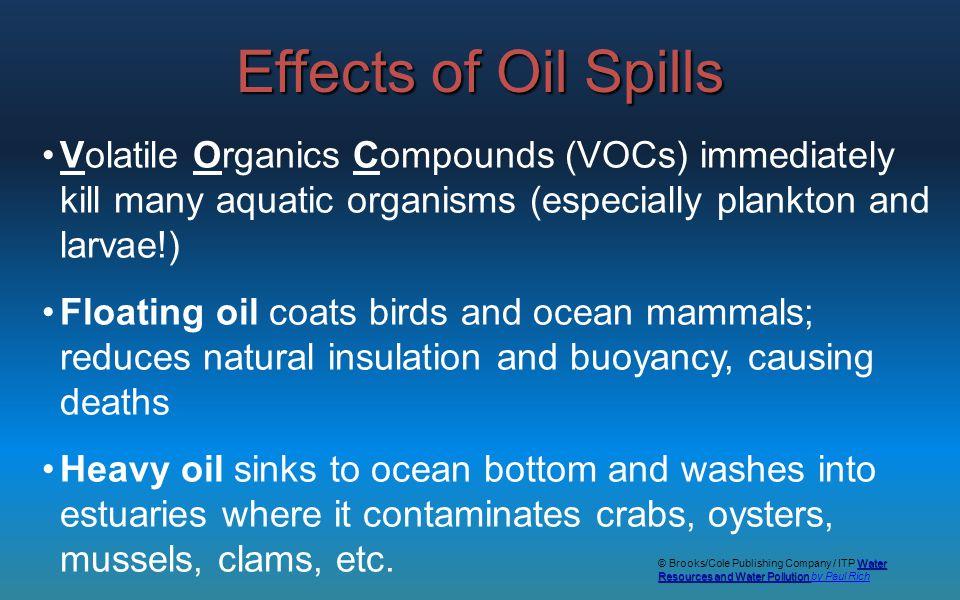 Volatile Organics Compounds (VOCs) immediately kill many aquatic organisms (especially plankton and larvae!) Floating oil coats birds and ocean mammal