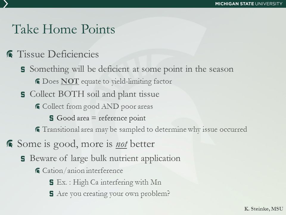 Take Home Points Tissue Deficiencies Something will be deficient at some point in the season Does NOT equate to yield-limiting factor Collect BOTH soi