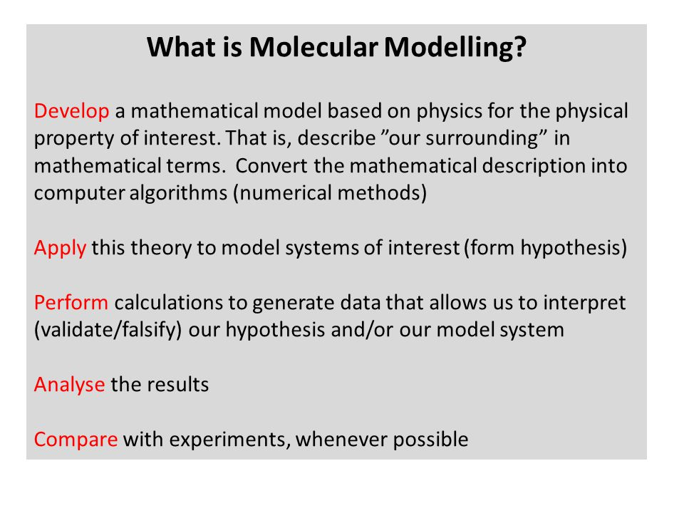 What is Molecular Modelling.