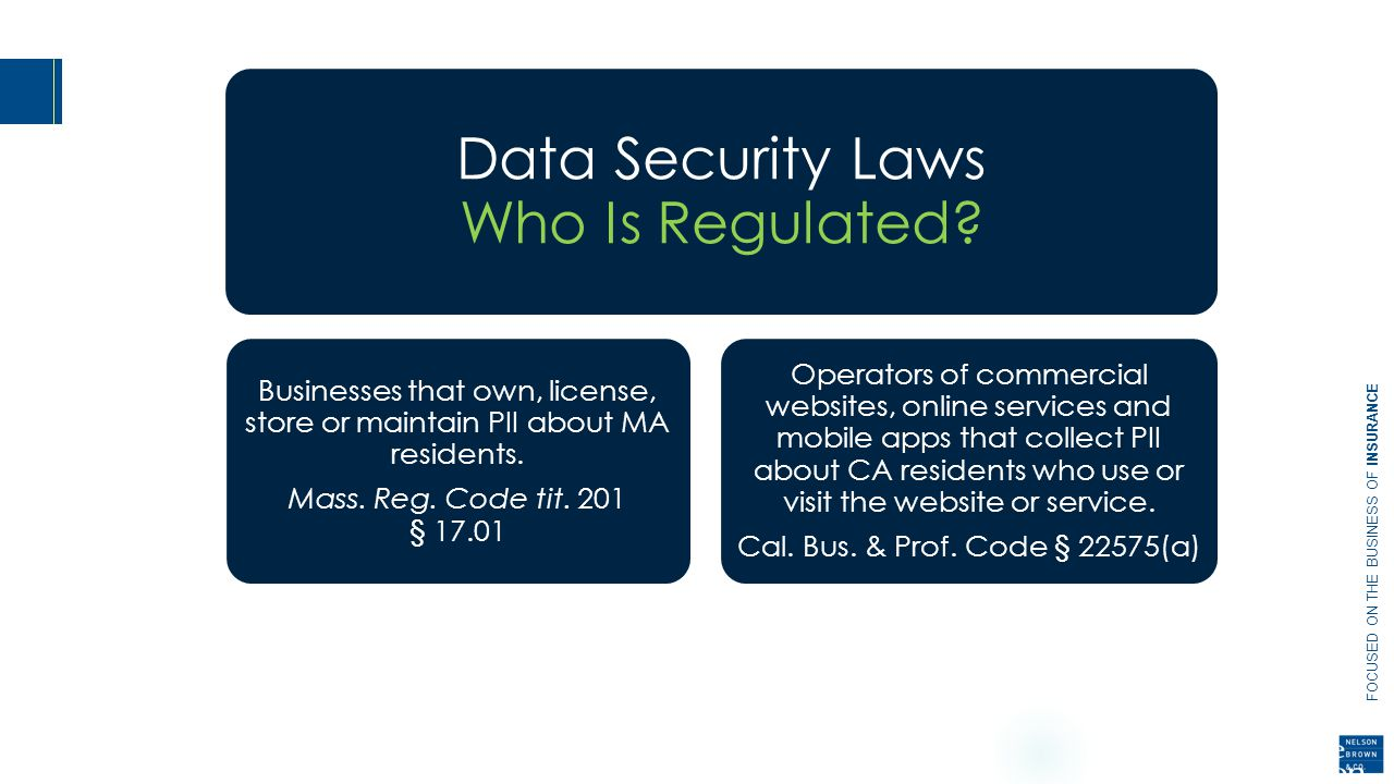 FOCUSED ON THE BUSINESS OF INSURANCE Data Security Laws Who Is Regulated.