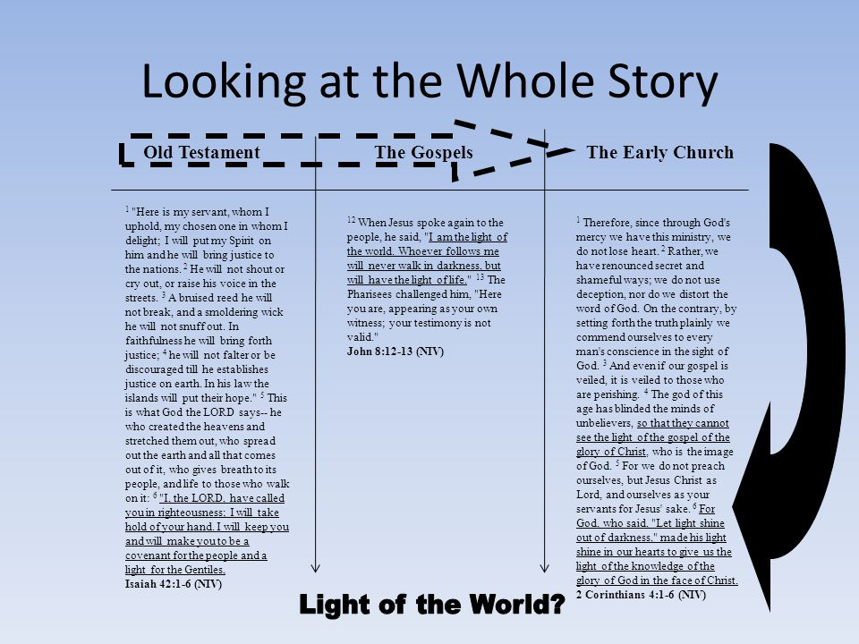 Looking at the Whole Story Old TestamentThe GospelsThe Early Church 1