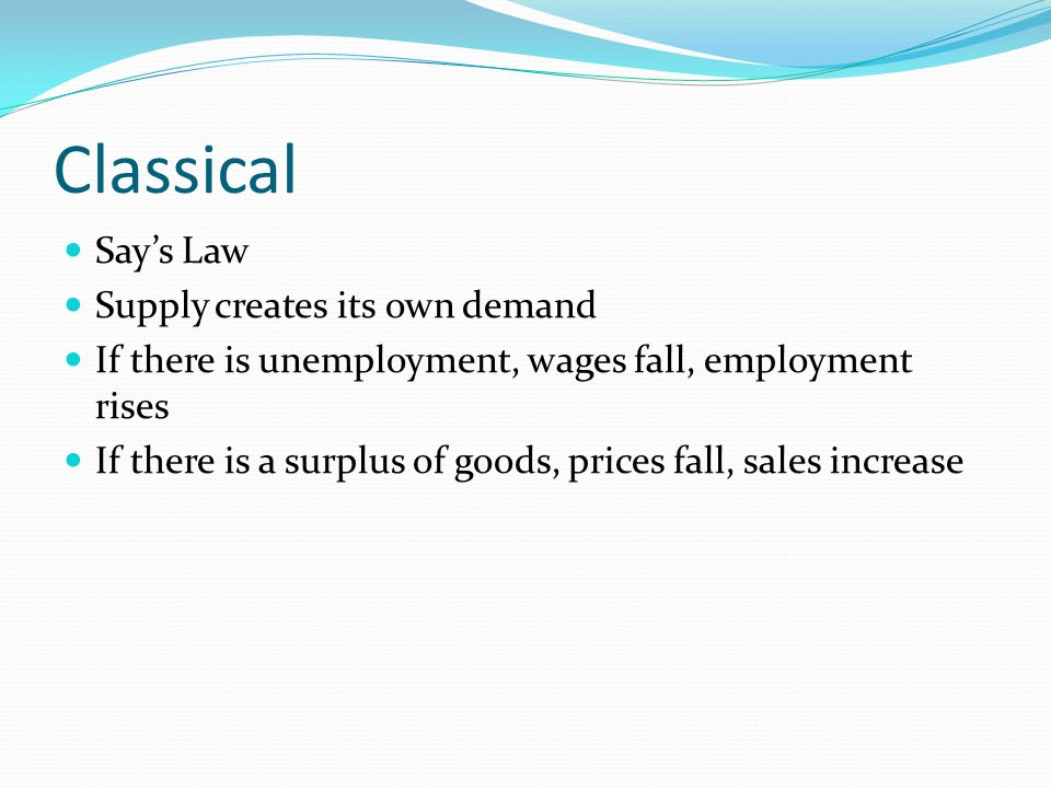 Classical Say's Law Supply creates its own demand If there is unemployment, wages fall, employment rises If there is a surplus of goods, prices fall, sales increase