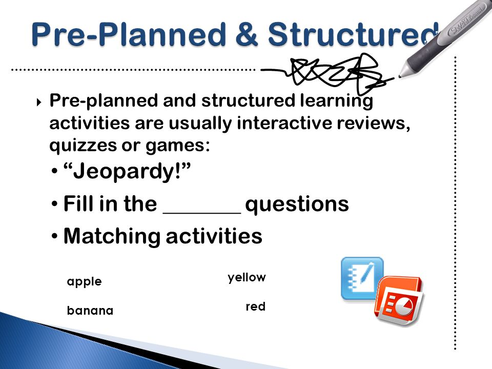  Examples of spontaneous and flexible learning activities include: Writing on the board Experimenting with objects Concept mapping Searching the internet Modeling ICT skills & processes