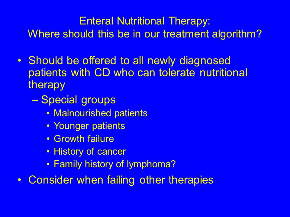 Enteral Nutritional Therapy: Where should this be in our treatment algorithm.