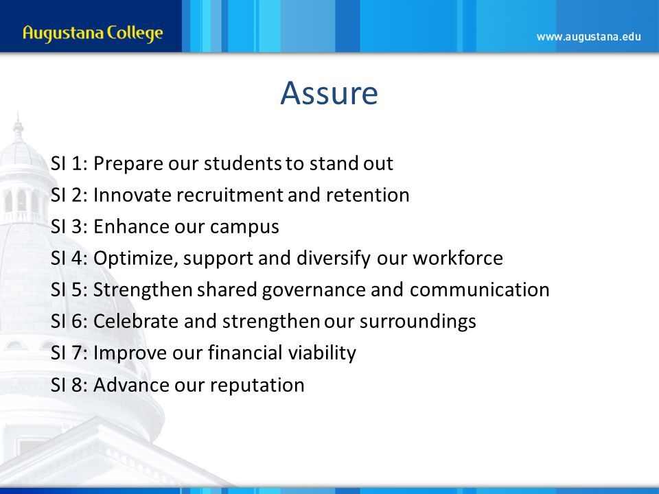 Assure SI 1: Prepare our students to stand out SI 2: Innovate recruitment and retention SI 3: Enhance our campus SI 4: Optimize, support and diversify our workforce SI 5: Strengthen shared governance and communication SI 6: Celebrate and strengthen our surroundings SI 7: Improve our financial viability SI 8: Advance our reputation