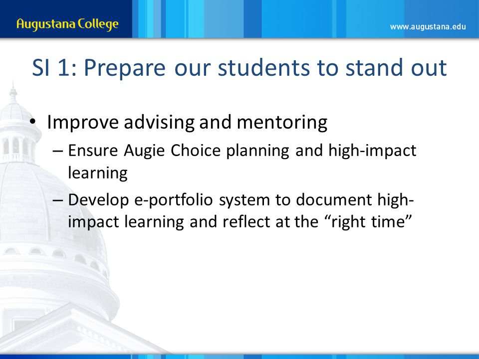 SI 1: Prepare our students to stand out Improve advising and mentoring – Ensure Augie Choice planning and high-impact learning – Develop e-portfolio system to document high- impact learning and reflect at the right time