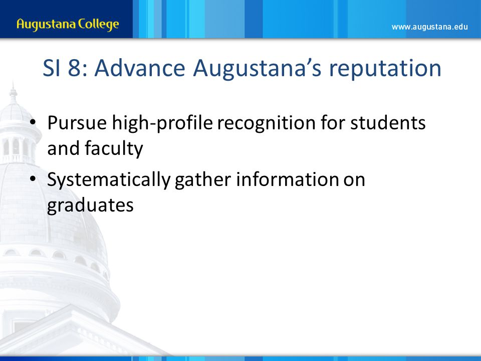 SI 8: Advance Augustana's reputation Pursue high-profile recognition for students and faculty Systematically gather information on graduates