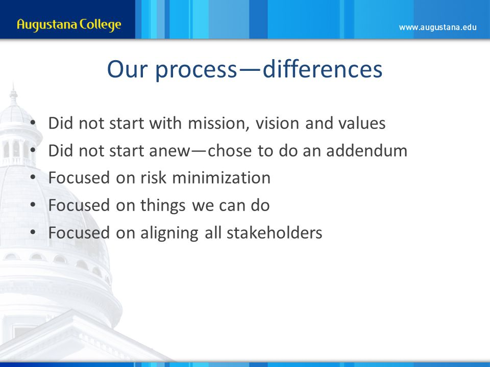 Our process—differences Did not start with mission, vision and values Did not start anew—chose to do an addendum Focused on risk minimization Focused on things we can do Focused on aligning all stakeholders