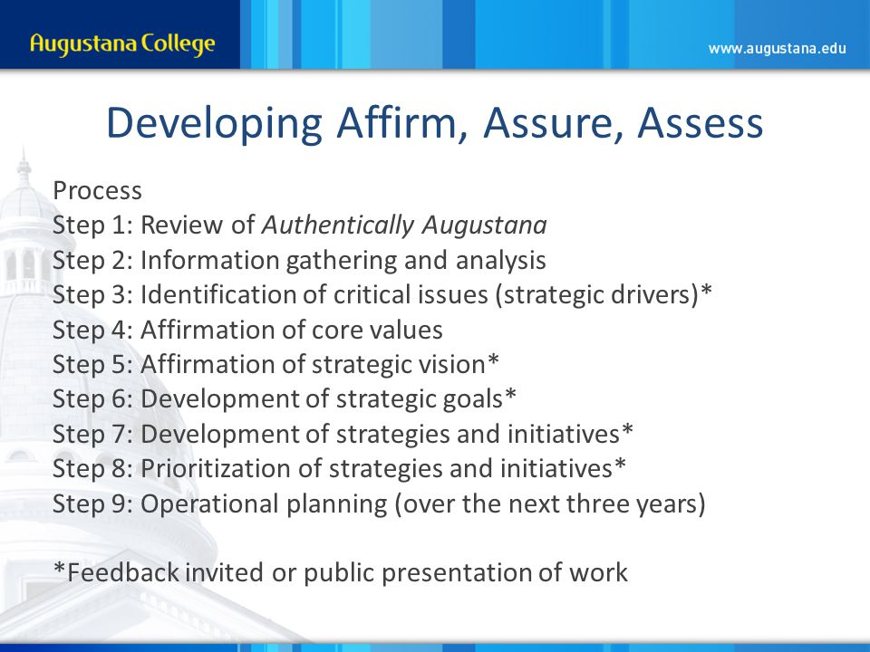 Developing Affirm, Assure, Assess Process Step 1: Review of Authentically Augustana Step 2: Information gathering and analysis Step 3: Identification of critical issues (strategic drivers)* Step 4: Affirmation of core values Step 5: Affirmation of strategic vision* Step 6: Development of strategic goals* Step 7: Development of strategies and initiatives* Step 8: Prioritization of strategies and initiatives* Step 9: Operational planning (over the next three years) *Feedback invited or public presentation of work