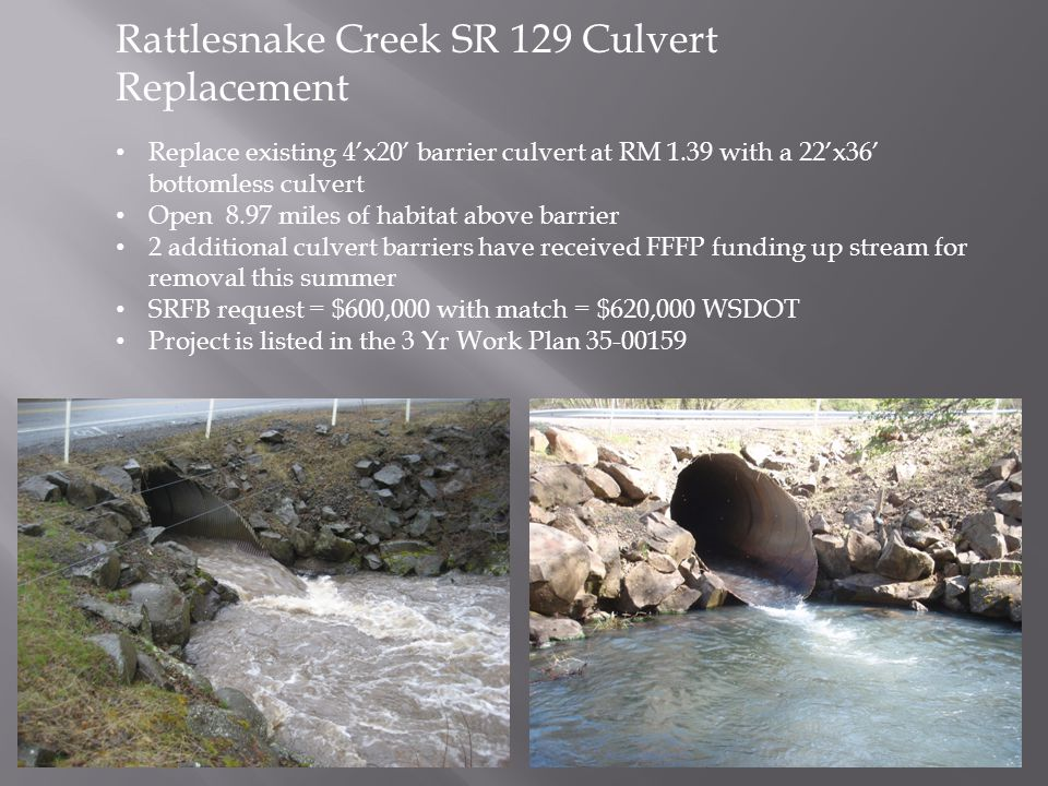 Rattlesnake Creek SR 129 Culvert Replacement Replace existing 4'x20' barrier culvert at RM 1.39 with a 22'x36' bottomless culvert Open 8.97 miles of h