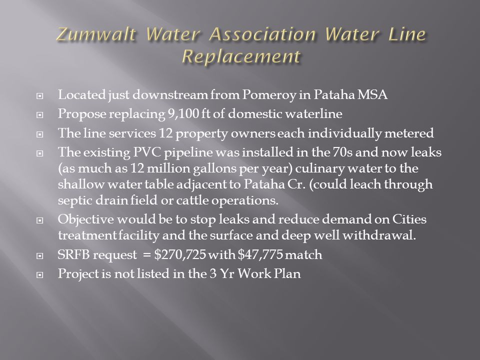  Located just downstream from Pomeroy in Pataha MSA  Propose replacing 9,100 ft of domestic waterline  The line services 12 property owners each individually metered  The existing PVC pipeline was installed in the 70s and now leaks (as much as 12 million gallons per year) culinary water to the shallow water table adjacent to Pataha Cr.