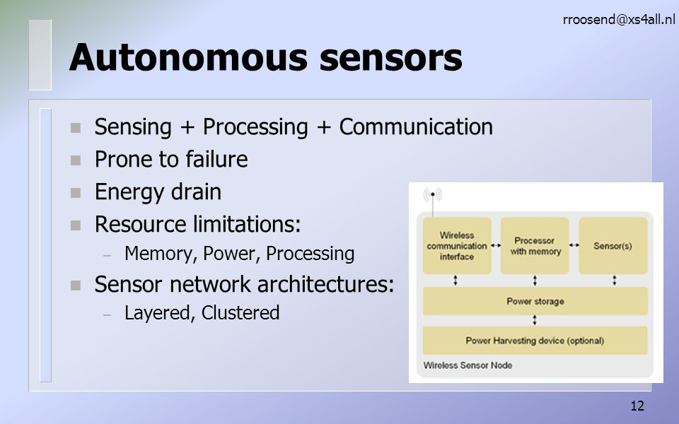 Autonomous sensors n Sensing + Processing + Communication n Prone to failure n Energy drain n Resource limitations: – Memory, Power, Processing n Sensor network architectures: – Layered, Clustered rroosend@xs4all.nl 12