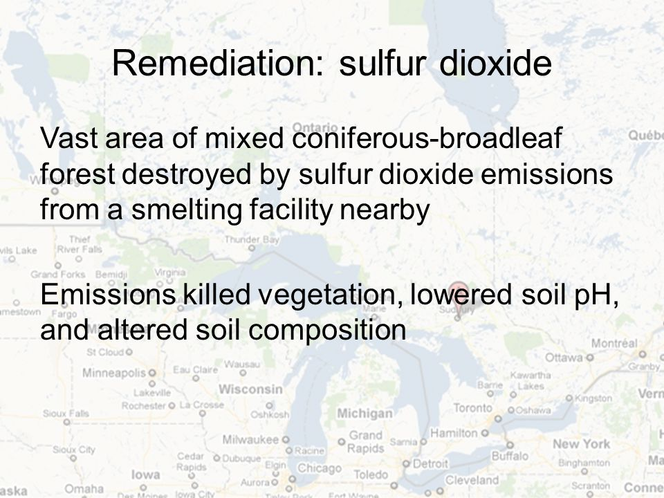 Remediation: sulfur dioxide Vast area of mixed coniferous-broadleaf forest destroyed by sulfur dioxide emissions from a smelting facility nearby Emissions killed vegetation, lowered soil pH, and altered soil composition