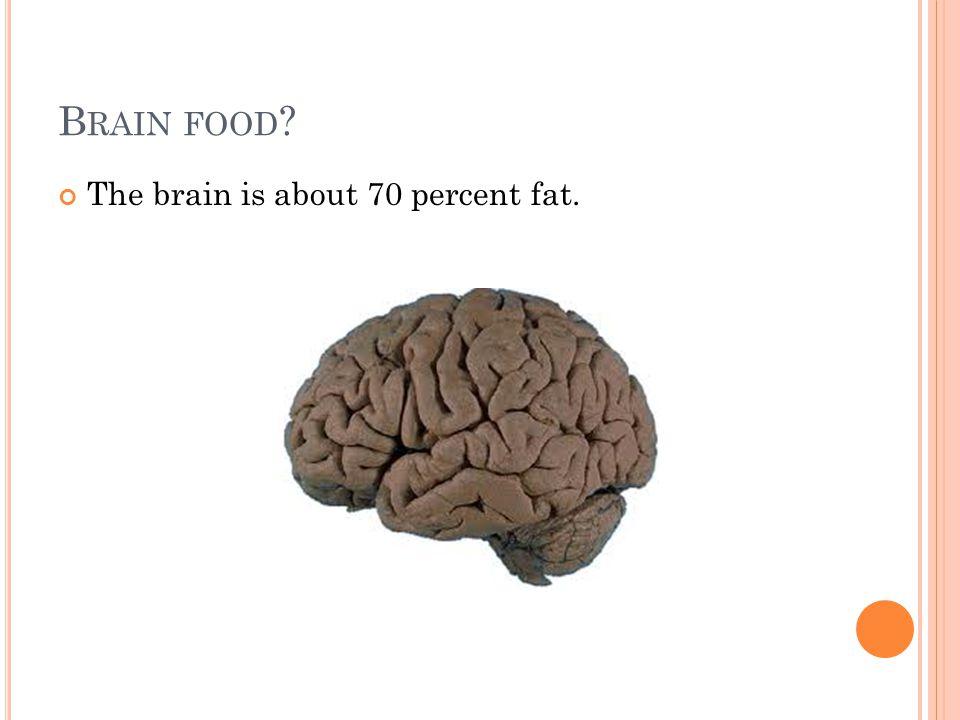 B RAIN FOOD The brain is about 70 percent fat.