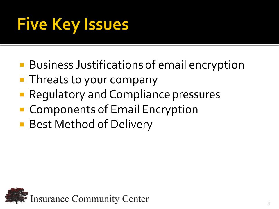 www.InsuranceCommunityUniversity.com  Business Justifications of email encryption  Threats to your company  Regulatory and Compliance pressures  Components of Email Encryption  Best Method of Delivery 4