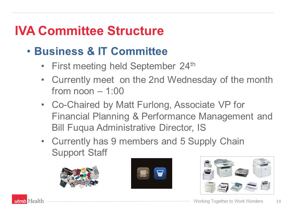 Working Together to Work Wonders IVA Committee Structure 14 Business & IT Committee First meeting held September 24 th Currently meet on the 2nd Wednesday of the month from noon – 1:00 Co-Chaired by Matt Furlong, Associate VP for Financial Planning & Performance Management and Bill Fuqua Administrative Director, IS Currently has 9 members and 5 Supply Chain Support Staff