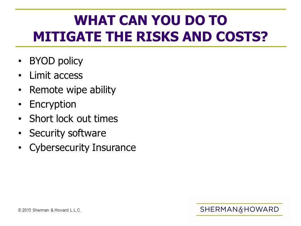© 2015 Sherman & Howard L.L.C. WHAT CAN YOU DO TO MITIGATE THE RISKS AND COSTS.