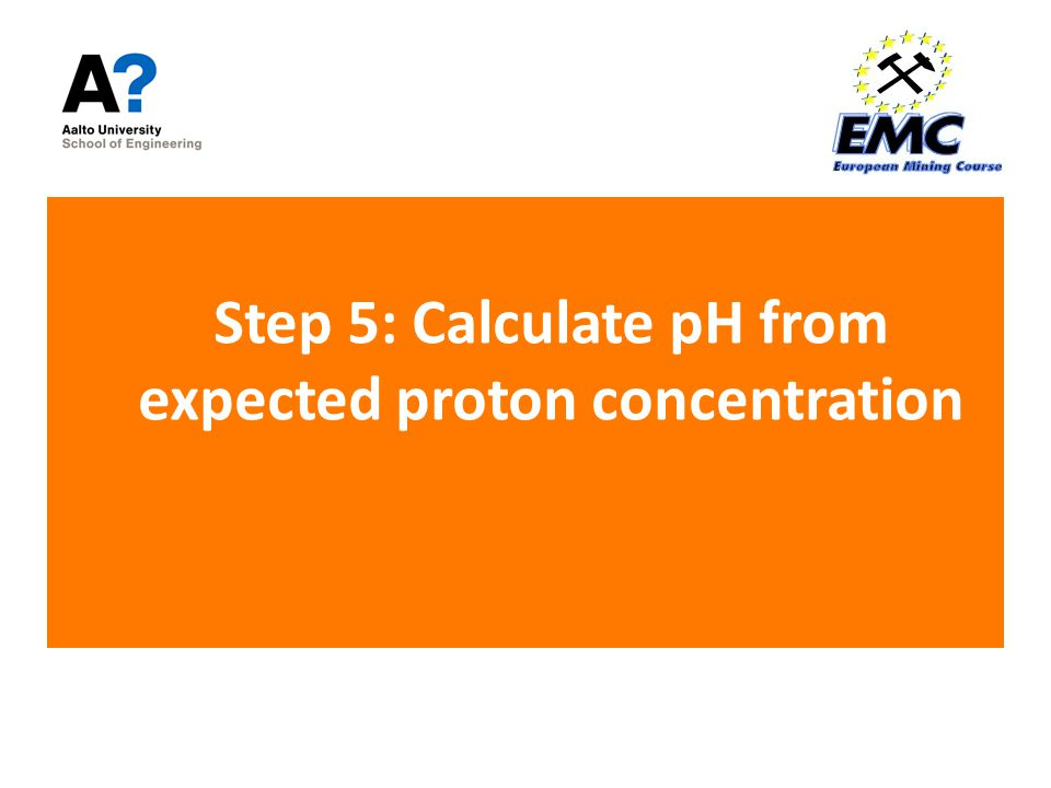 Step 5: Calculate pH from expected proton concentration