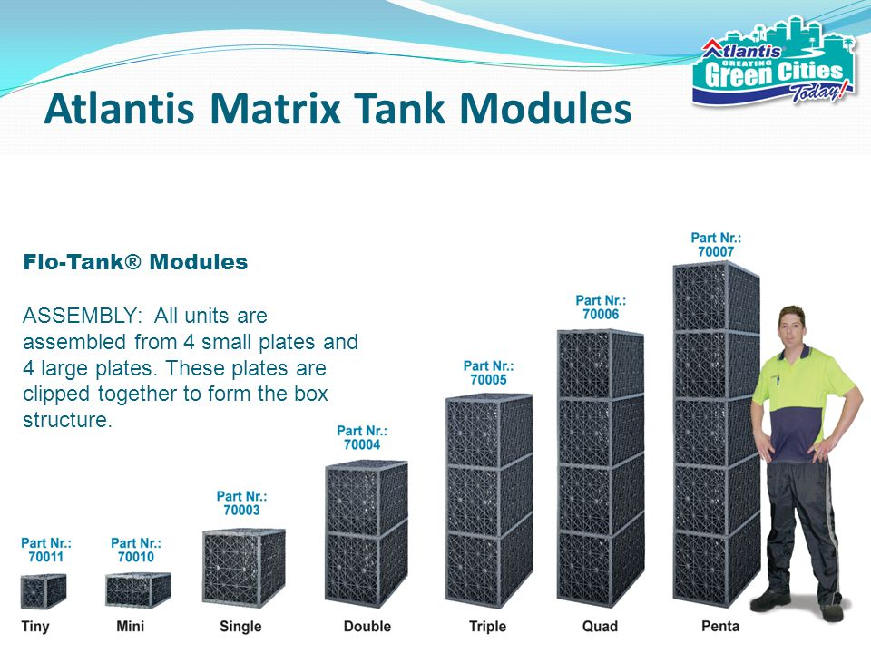 Atlantis Matrix Tank Modules Flo-Tank® Modules ASSEMBLY: All units are assembled from 4 small plates and 4 large plates.