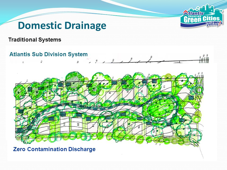 Domestic Drainage Traditional Systems Contaminated Water Discharge Zero Contamination Discharge Atlantis Sub Division System