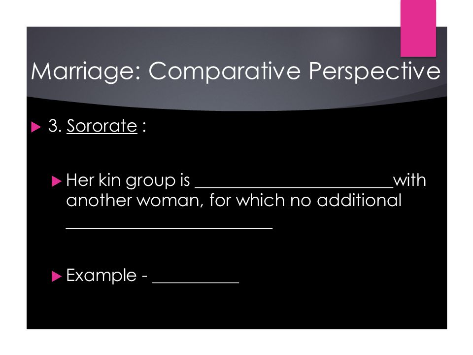 Marriage: Comparative Perspective  3.