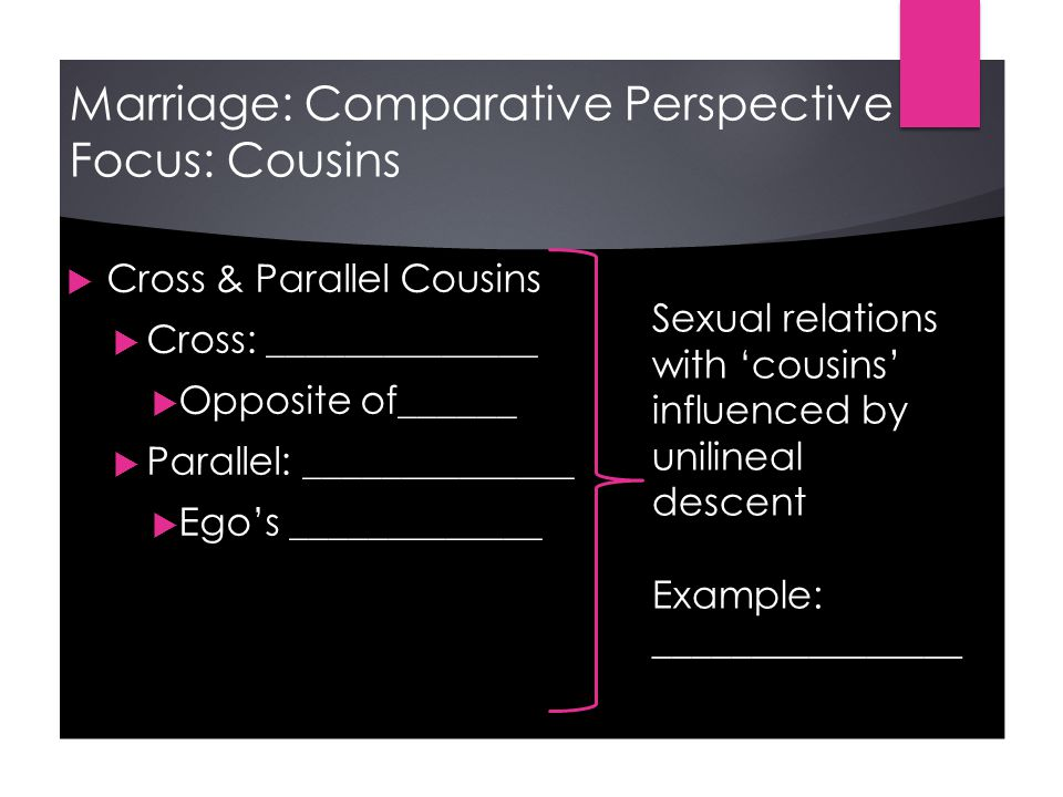 Marriage: Comparative Perspective Focus: Cousins  Cross & Parallel Cousins  Cross: ______________  Opposite of______  Parallel: ______________  Ego's _____________ Sexual relations with 'cousins' influenced by unilineal descent Example: ________________