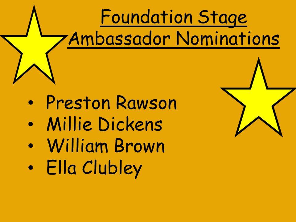 Year 1 Ambassador Nominations Ruby Rider Daniel Ockerby Rebecca Lata Cole Leach