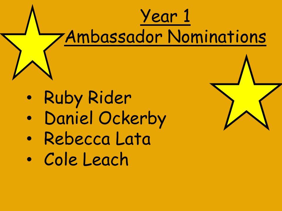 Year 2 Ambassador Nominations Sia Kumar Kyle Stewart Amelia Fletcher Jack Wood