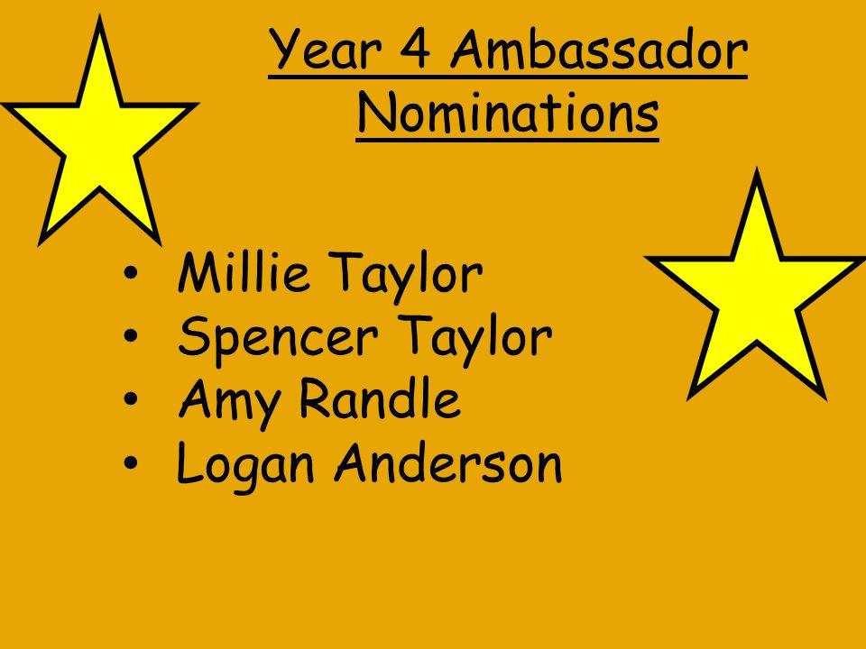 Year 5 Ambassador Nominations Shona Corrigan Hayden Clifford Tia Senior Bailey Sales