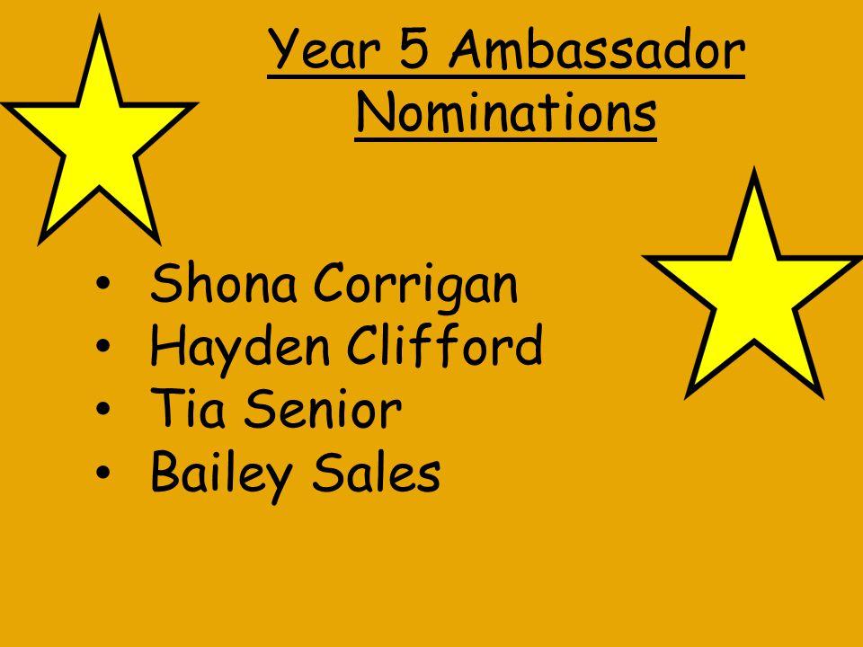Year 6 Ambassador Nominations Amy Dalby Skye Hayes Sam Firth Malachy Durkin-Wilkinson