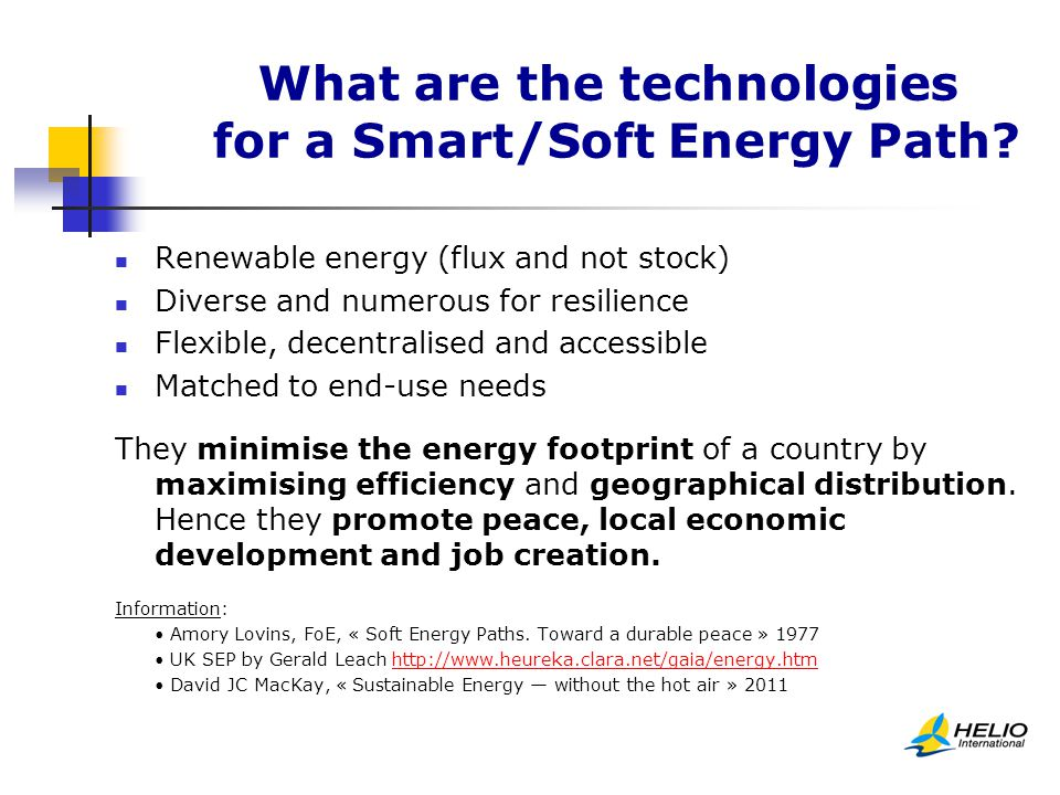 What are the technologies for a Smart/Soft Energy Path.