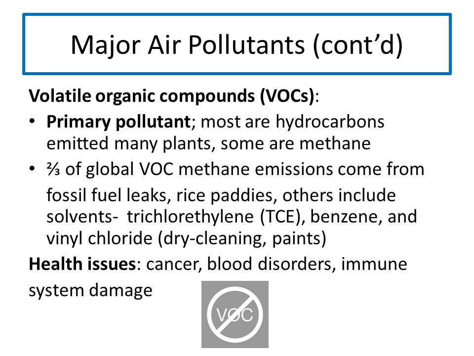 Major Air Pollutants (cont'd) Volatile organic compounds (VOCs): Primary pollutant; most are hydrocarbons emitted many plants, some are methane ⅔ of g