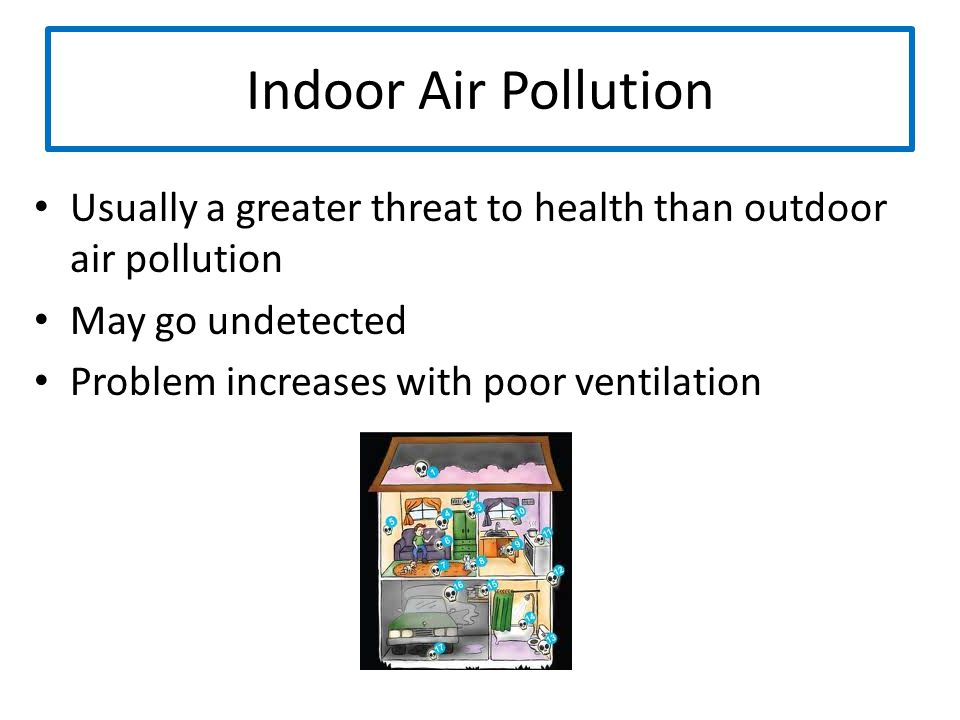 Indoor Air Pollution Usually a greater threat to health than outdoor air pollution May go undetected Problem increases with poor ventilation