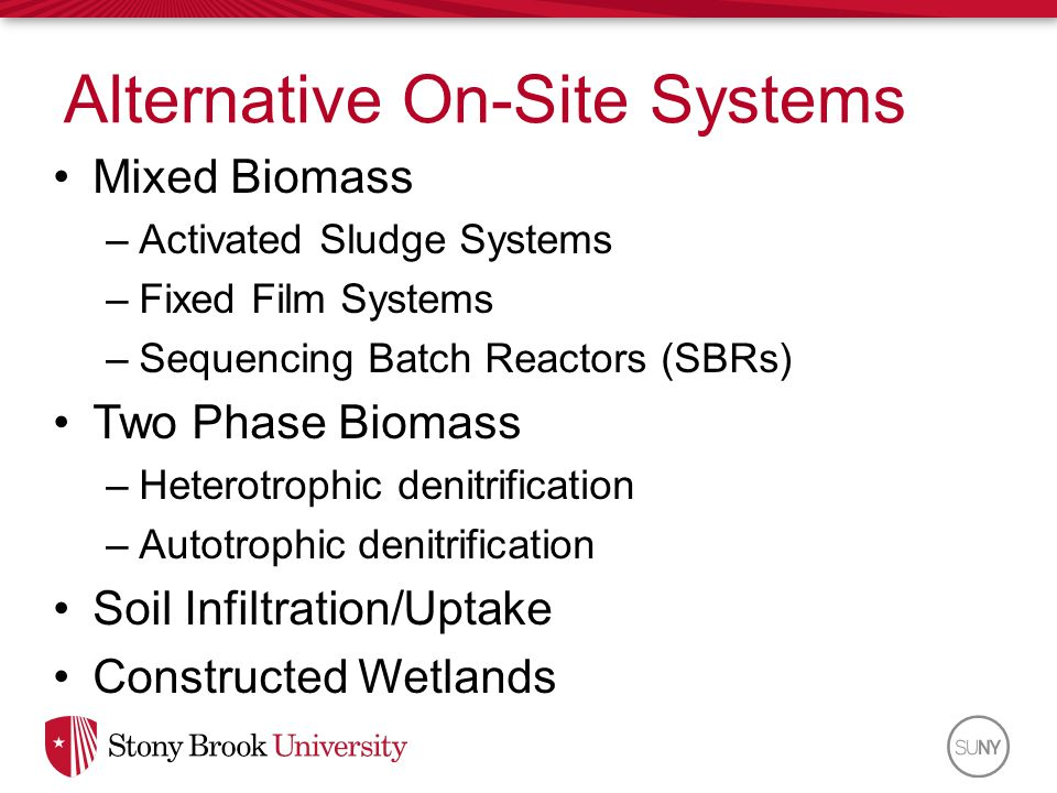 Mixed Biomass –Activated Sludge Systems –Fixed Film Systems –Sequencing Batch Reactors (SBRs) Two Phase Biomass –Heterotrophic denitrification –Autotr